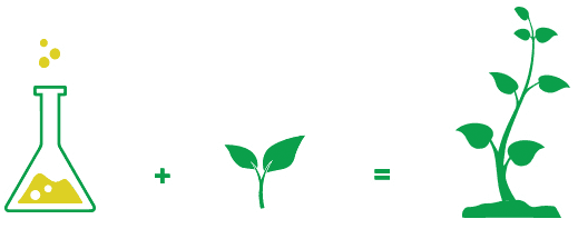 An image describing how the science behind MustGrow products can help bolster crop growth into strong, healthy crops.